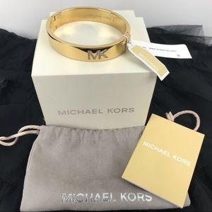 Michael Kors Jewelry - Michael Kors Women's MK Crystal Logo Gold Bangle